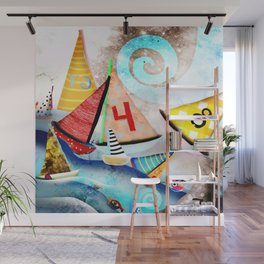 Wooden sail boat Love - Wild ocean waves Wall Mural