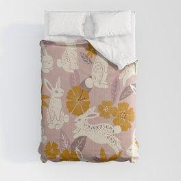 Bunnies & Blooms – Mauve & Ochre Palette Comforters