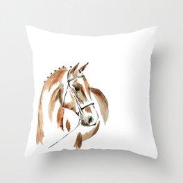 Bay Watercolour Horse Throw Pillow