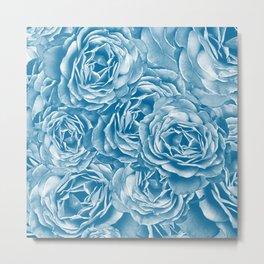 Passion Roses Random Pattern in Blue Metal Print