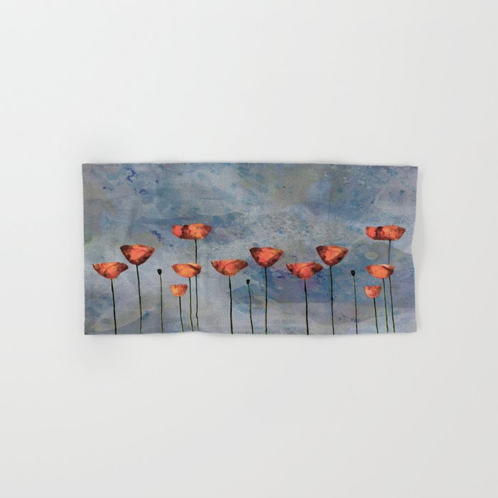 Poppyfield against the blue sky- abstract watercolor artwork Hand & Bath Towel