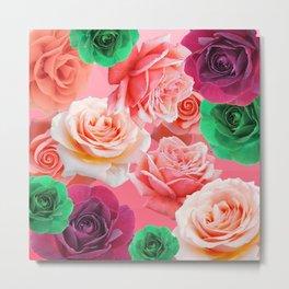 Multi Colored Roses - Green Pink Dark Red Metal Print