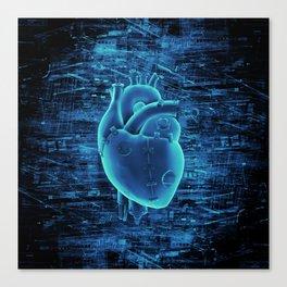 Gamer Heart BLUE TECH / 3D render of mechanical heart Canvas Print