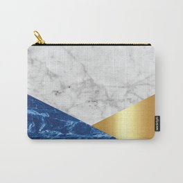 White Marble Blue Granite & Gold #188 Carry-All Pouch