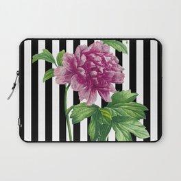 Pink Peony Black Stripes Chic Laptop Sleeve