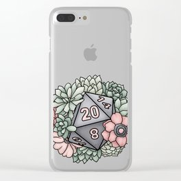 Succulent D20 Tabletop RPG Gaming Dice Clear iPhone Case