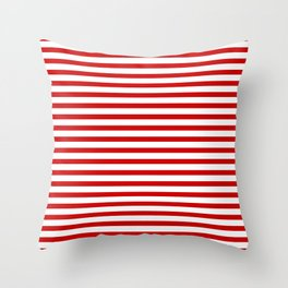 Red and White Stripes Throw Pillow