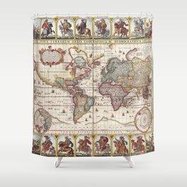 1652 Map of the World, Doncker Sea Atlas World Map Shower Curtain