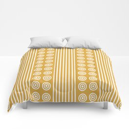 Geometric Golden Yellow & White Vertical Stripes & Circles Comforters