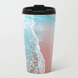 Sea Blue + Rose Gold Metal Travel Mug