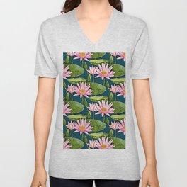 Pink Water Lilies on Dark Blue Pond Unisex V-Neck