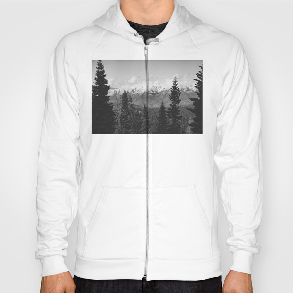 Snow Capped Sierras - Black And White Nature Photo… Hoody by Cascadia SSR8952631
