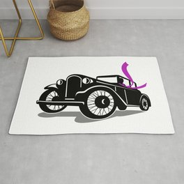 Vintage Coupe With Flowing Scarf Retro Rug