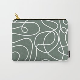 Doodle Line Art | White Lines on Dark Gray Green Carry-All Pouch