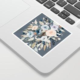 Loose Watercolor Bouquet on Blue Sticker