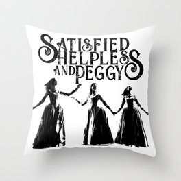 Satisfied Helpless and Peggy Black and White Throw Pillow