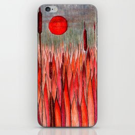 Sunset Over the Cattail Field iPhone Skin