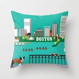 Boston, Massachusetts - Skyline Illustration by Loose Petals Throw Pillow