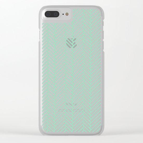 Herringbone Mint Clear iPhone Case