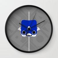 steve rogers Wall Clocks featuring Marshmallow Steve Rogers by Oblivion Creative