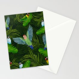 Lovebirds and tropical leafs Stationery Cards
