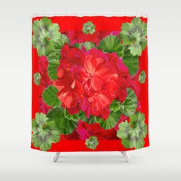 Decorative Red Flower Geraniums Green Leaves Abstract Shower Curtain