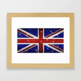 Glitters Shiny Sparkle Union Jack Flag Framed Art Print
