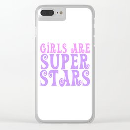 Girls are Super Stars - pink and purple Clear iPhone Case