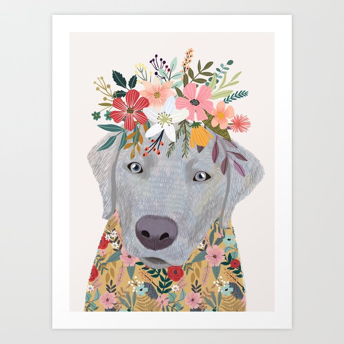 Silver Labrador with Flowers Art Print