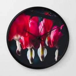 Pink Bleeding Heart Wall Clock