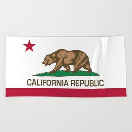 California Republic Flag - Bear Flag Beach Towel