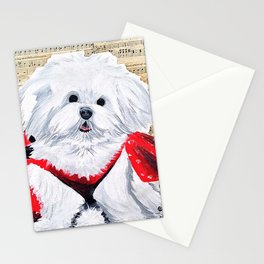 Maltese Puppy Love Music Stationery Cards