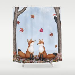 foxes, falling leaves, & pileated woodpecker Shower Curtain