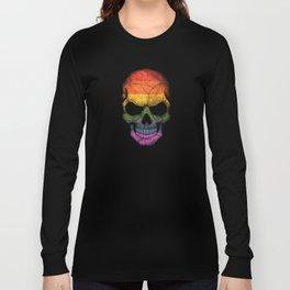 Dark Skull with Gay Pride Rainbow Flag Long Sleeve T-shirt