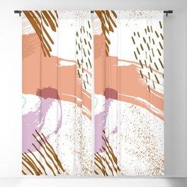 Retro Color Block Stripes Rusty Orange Blackout Curtain