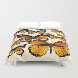 COFFEE & CREAM COLORED BROWN BUTTERFLIES Duvet Cover