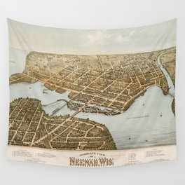 Vintage Pictorial Map of Neenah WI (1879) Wall Tapestry