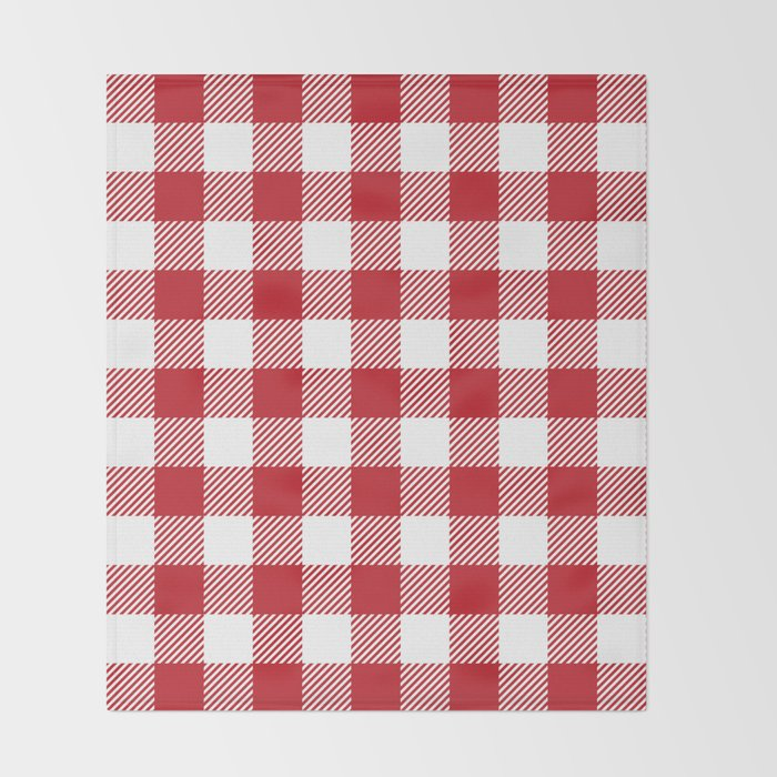 Buffalo Plaid Red White Throw Blanket By Jsdavies