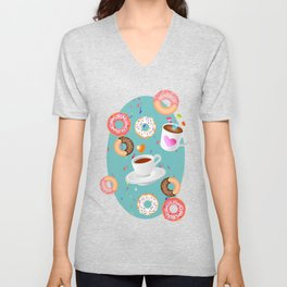 Coffee and Doughnuts Unisex V-Neck