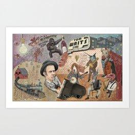 Tom Waits' Melodramatic Nocturnal Scene Art Print