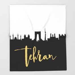 TEHRAN IRAN DESIGNER SILHOUETTE SKYLINE ART Throw Blanket