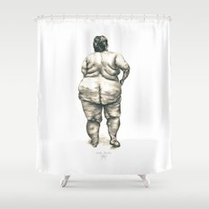 mujer en la ducha Shower Curtain