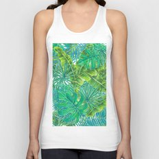 Tropcal leaves watercolor Unisex Tank Top