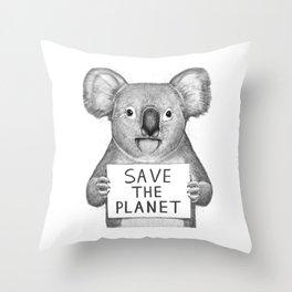 Koala save the planet Throw Pillow