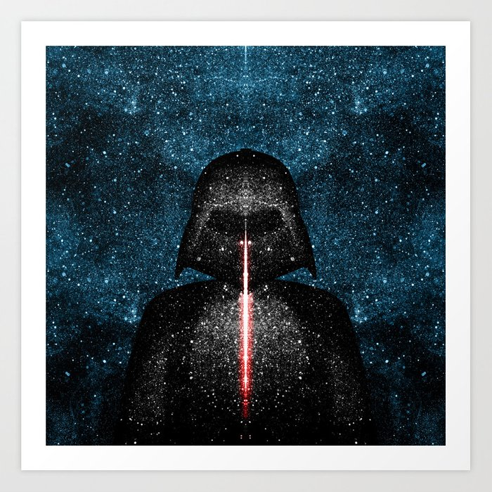 Darth Vader with Lightsaber in Galaxy Art Print