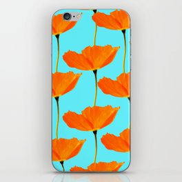 Poppies On A Turquoise Background #decor #society6 #buyart iPhone Skin