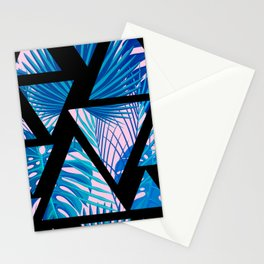 Geometrical black pink navy blue watercolor tropical leaves Stationery Cards