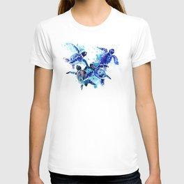 Sea Turtles, Marine Blue underwater Scene artwork T-shirt