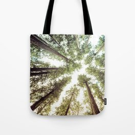 Green Forest Sky Trees Tote Bag