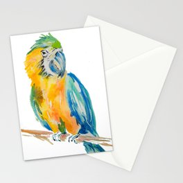 blue and yellow Parrot bird watercolour painting Stationery Cards